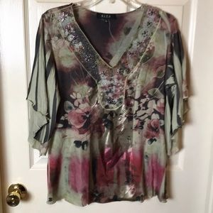 B.L.E.U V-Neck Top with Bell Sleeves  - Large